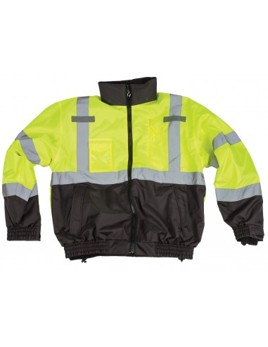 3-in-1 ANSI Class 3 Lime/Black Bomber Jacket LARGE