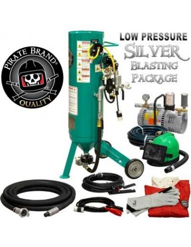 Abrasive Blast Pot / Sandblasting Machine, Electric, 1.0 Cu. ft., Silver Low- Pressure Blasting Package