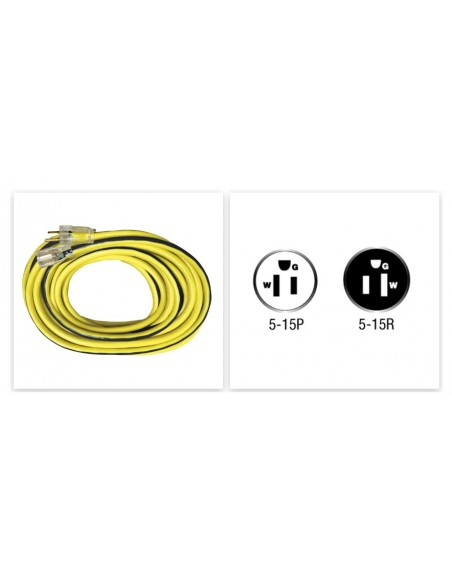 Extension Cord 50-Feet, Voltec 12/3 SJTW Outdoor with Lighted End, Yellow with Blue Stripe-Shop
