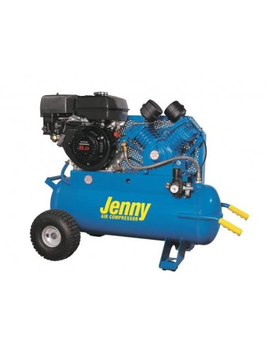 Air Compressors, Jenny Single Stage Wheeled Portable, Gasoline Engine, 17 gal. G8HGA-17P